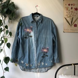 Only Distressed Embroidered Denim Button Up